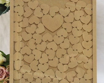 Wedding guest book drop box hearts with FREE stand