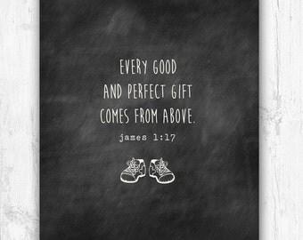 Every Good and Perfect Gift, Nursery Print, Wall Print, Chalkboard