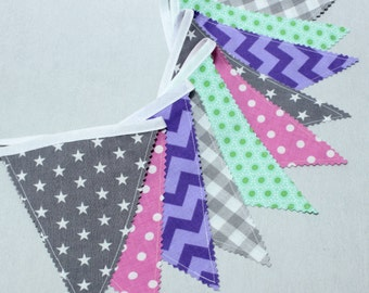 Triangle Bunting Banner, Pennant Flag Banner, Pink, Teal, Purple, Pink, Girl's Nursery Wall Hanging, Photo prop, Deco Baby Shower
