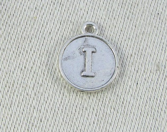 """Silver Medallion Letter """"I"""" Charm, 1 or 5 letters per package ALF012i"""