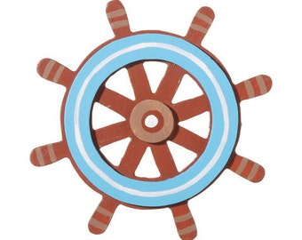 Wooden Painted Captain's Wheel 4 x 4 inches
