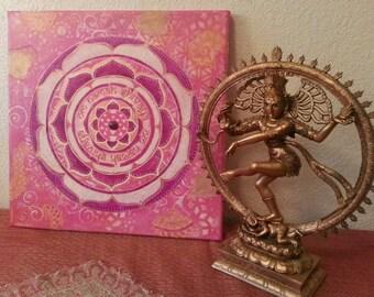 Original Om Namah Shivaya Mantra Mixed Media Mandala Painting, with Amethyst cabochon, Reiki Infused