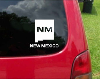 2 Pieces New Mexico NM State USA Outline Map Stickers Decals 20 Colors To Choose From.  U.S.A Free Shipping