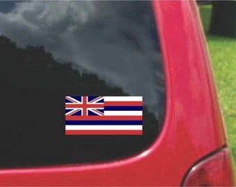 2 Pieces Hawaii  State Flag Vinyl Decals Stickers Full Color/Weather Proof. U.S.A Free Shipping