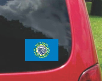 2 Pieces South Dakota  State Flag Vinyl Decals Stickers Full Color/Weather Proof. U.S.A Free Shipping