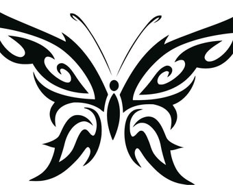 Set (2 Pieces) Tribal Butterfly  Sticker Decals 20 Colors To Choose From.  U.S.A Free Shipping