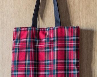 Red Tartan Fabric Tote Bag