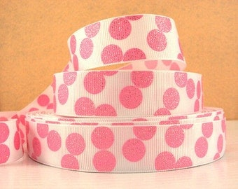 7/8 inch Light PINK Glitter Dots on White Printed Grosgrain Ribbon for Hair Bow