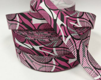 7/8 inch White and Black Tennis Racket on Purple/Magenta - Sports  - Printed Grosgrain Ribbon for Hair Bow