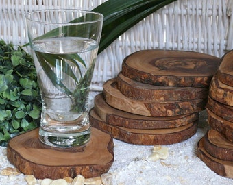 Coasters, round, Pack of 12 olive wood