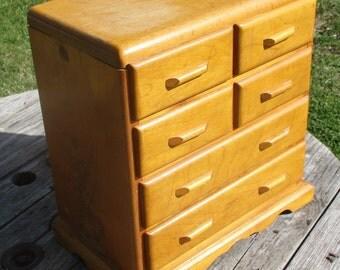 6 Drawer Vintage Wood Organizer Storage Bins Arts Crafts Countertop Cubbyholes a