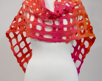 Wool Felt Scarf Shawl Wrap in Pink & Orange. Womens Scarves Hand Dyed Wool Felt Scarf. 11605