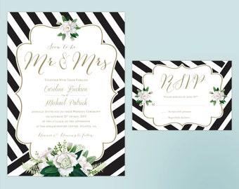 Custom Classic Stripes Wedding Invitation Set - PDF or Printed For You