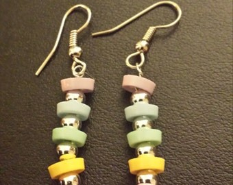 Mini Pastel Button Dangle Earrings