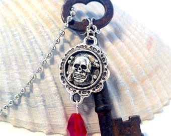 Vintage Steampunk Skeleton Key Necklace with Skull Charm and Red Crystal Bead - Altered Art - Recycled Upcycled Repuposed