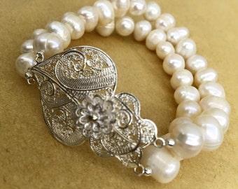 Silver Portuguese Filigree in Pearl Bracelet