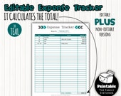 Editable Monthly Expense Tracker, Printable Expense Log, Expenses Sheet, Financial Expense Report, Money Management, Instant Download, PDF