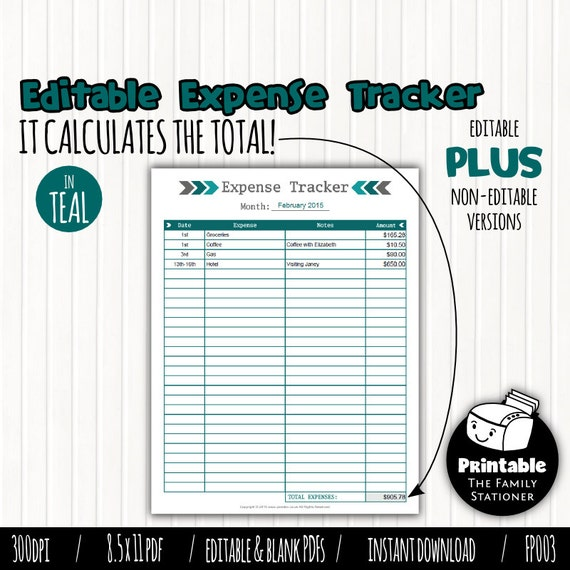 Editable Monthly Expense Tracker Printable Expense Log – Printable Expense Sheet