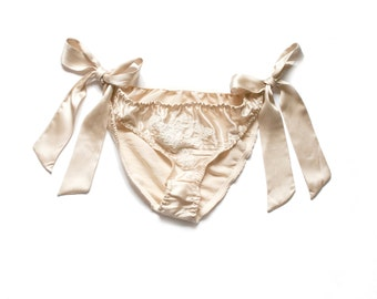 Aemilia Side Tie Boudoir Panties - handmade luxury lingerie made in 100% silk and French Lace