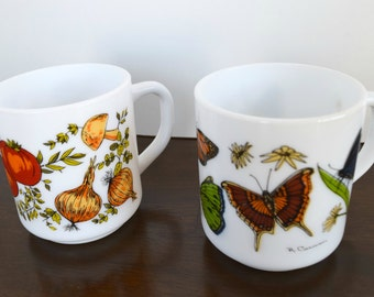 R Carman Milk Glass Mugs for Arcopal (2)
