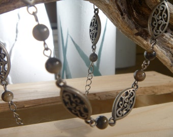 Silver and glass bead necklace