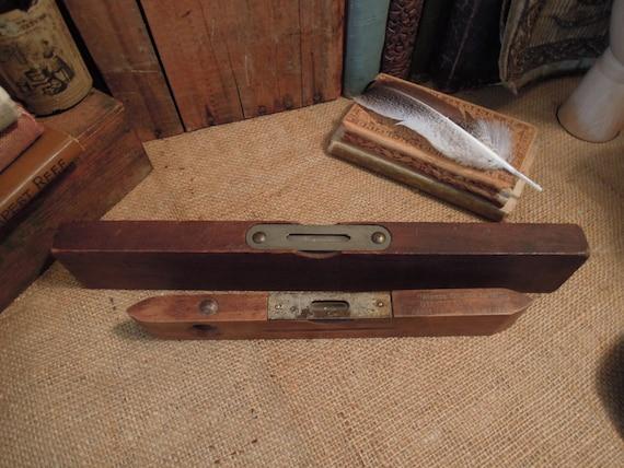 Vintage Two Wood Levels Handyman Torpedo Level Rustic Small