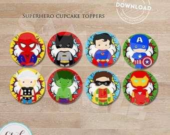 50% OFF SALE Superhero Cupcake toppers, Super hero, Superheroes, cake toppers, Birthday party decorations, Party supplies, INSTANT Download