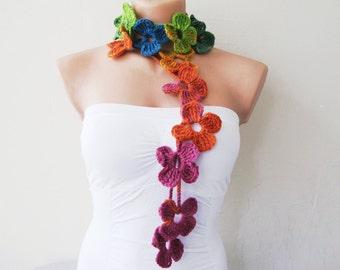flower scarf, hand crochet, lariat scarf, boho scarf, crochet jewelry