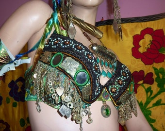 Green Tribal-Fusion-Snake Bra Size 80C, UK 36 A, US Size 36B, UK Size 36 C
