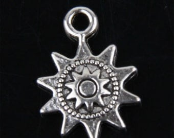 30 New Silver Tone Charms Sun Pendants for DIY Crafts 12.5x17mm