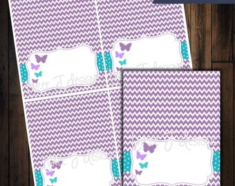 Butterfly Baby Shower Table Tent Food Labels - Purple Chevron with Teal & Light Purple - INSTANT DOWNLOAD