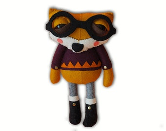 Errol the Fox - handmade plush creature plushie toy - children birthday gift