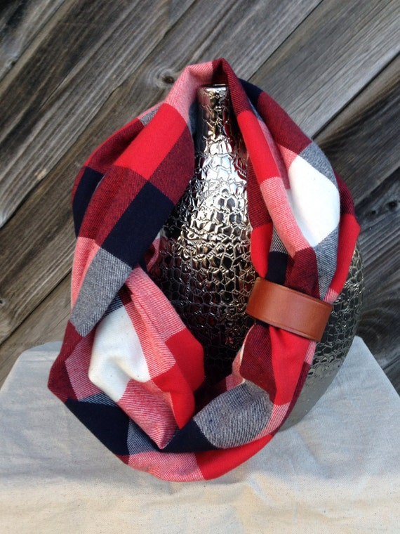 Red, Navy and White plaid flannel eternity scarf with a brown leather cuff - soft, trendy
