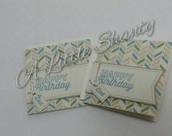 "Happy Birthday Dad card(3""x3"")/vanilla paper base/stamped message/blank inside"