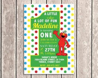Elmo - Sesame Street Birthday Invitation | 1st Birthday - SS01-1