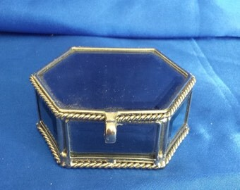 8 Sided (Polygon) Beveled Mirrored Box with Hinged Lid