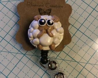 Cute Lamb Whimsical retractable ID badge reel