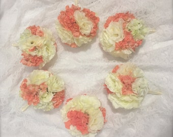Set of 6 bridesmaid bouquets/ivory and coral bouquet/bridesmaid flowers/