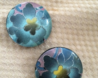 vintage floral clip on earrings