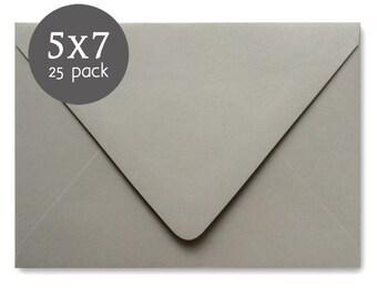 "Gray Envelopes - 25 Pack - Light Grey Envelope - A7 - 5x7 , actual size 5 1/4"" x 7 1/4"" - Wedding Envelopes"