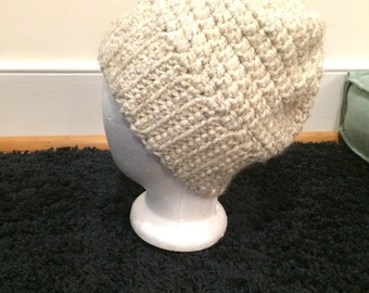 the megan chunky ribbed hat in oatmeal