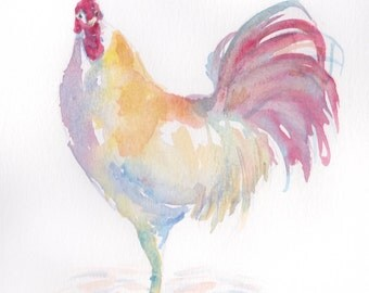 Colorful Rooster Watercolor