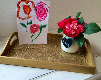 Glitter serving tray - gold