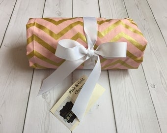 Pink and Gold Changing Pad Cover - Baby Bedding - Baby Gift - Nursery - Diapering - Changing Pad - Pink and Gold - Chevron - Trendy