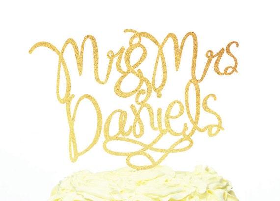 Mr and mrs modern calligraphy cake topper custom name