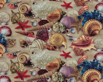 Landscape Medley - Ocean Sand and Sea Shells Fabric - Elizabeth's Studio Fabrics- 100% Cotton Fabric