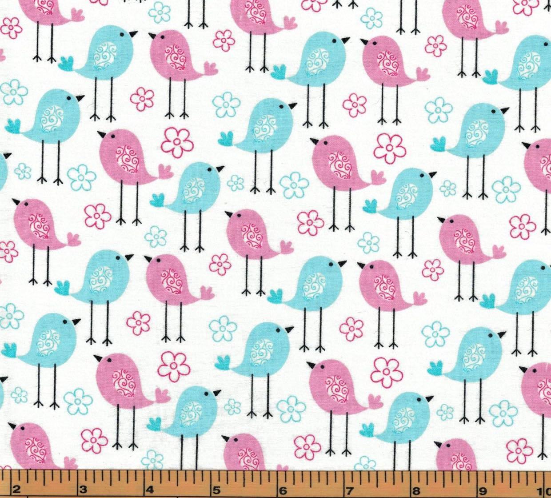 Pink blue birds on white background tweetie pie for Galaxy fabric canada