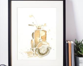 Original Watercolor & Coffee Painting - Vespa Scooter