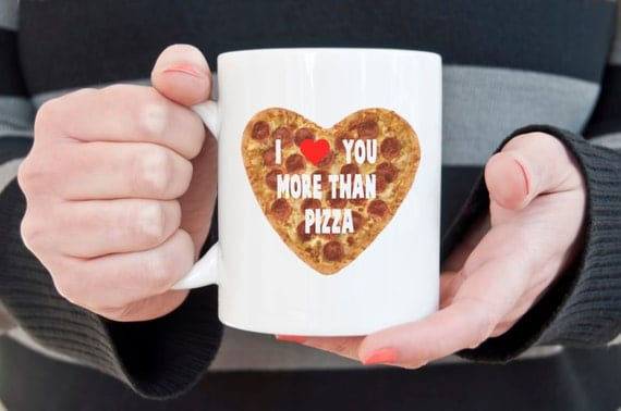 Pizza mug, I love you, coffee mug, novelty mug, I love pizza, statement mug, funny mugs, sarcasm, Pepperoni pizza, valentines day gift