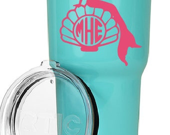30oz Rtic Tumbler with mermaid decal, personalized, monogram, customized